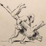 Les travauxd'Hercule. - Paris:  Chez Aubert et cie, s.d. [1847]. Premier tirage. Suite de 46 planches et de 104 dessins lithographiés accompagnés de légendes, album in 8elithographieMusée de Brou, Ville de Bourg-en-Bresse