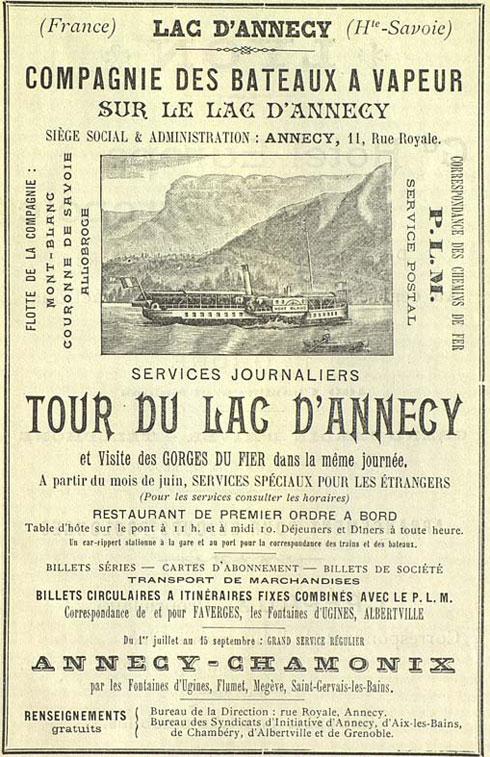 Publicit Pour La Compagnie Des Bateaux Vapeur DAnnecy