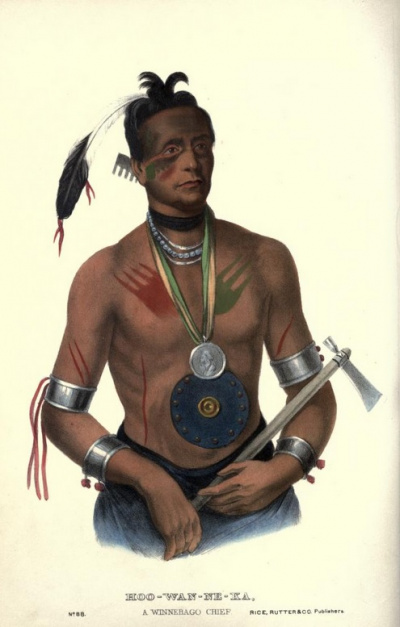 Hoo-Wan-Ne-Ka. A Winnebago Chief.<br>History of the Indian Tribes of North America.<br>Thomas McKenney