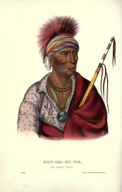 Not Chi Mi Ne. An Ioway Chief.<br>History of the Indian Tribes of North America.<br>Thomas McKenney<br>