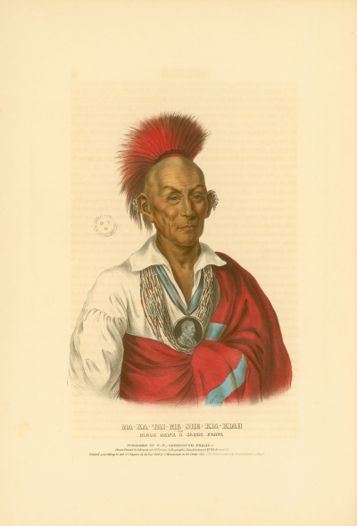 Gravure : Black Hawk a Saukie Brave.<br><i>History of the Indian tribes of North America<br></i>© Bibliothèque municipale de Grenoble