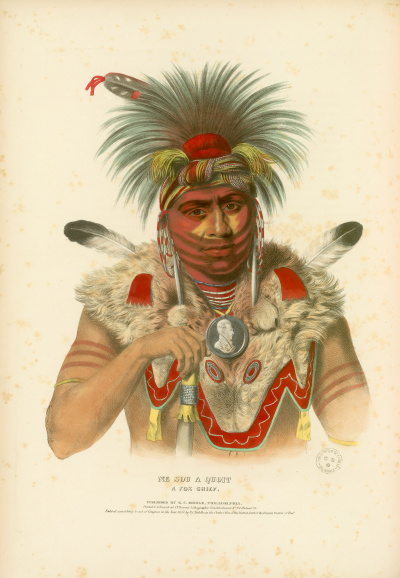Gravure : Fox Chief.<br><i>History of the Indian tribes of North America<br></i>© Bibliothèque municipale de Grenoble