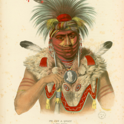 Gravure : Fox Chief.History of the Indian tribes of North America. © Bibliothèque de Grenoble.
