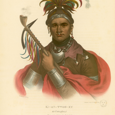 Gravure : Ki-on-Twog-Ky. History of the Indian tribes of North America. © Bibliothèque de Grenoble.