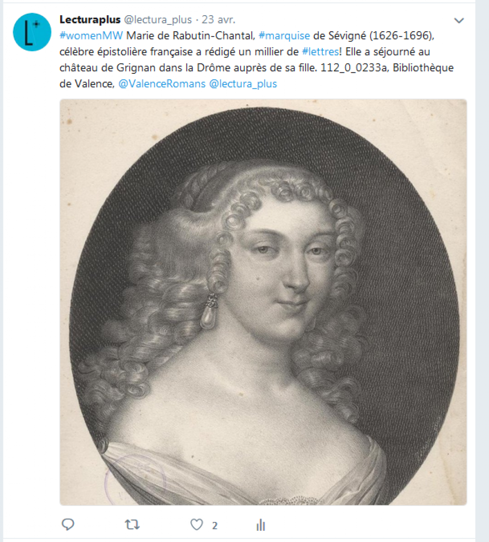 Capture d'écran, tweet de Lectura Plus, lundi 23 avril 2018, #MuseumWeek #WomenMW.<br>
