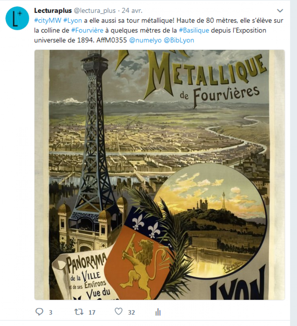 Capture d'écran, tweet de Lectura Plus, mardi 24 avril 2018, #MuseumWeek #CityMW.