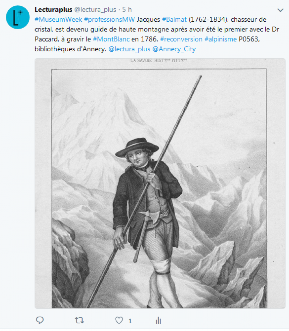 Capture d'écran, tweet de Lectura Plus, jeudi 26 avril 2018, #MuseumWeek #ProfessionsMW.