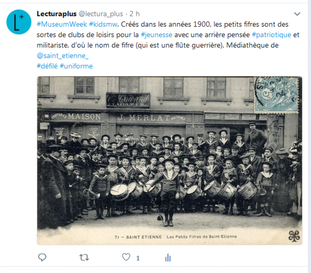 Capture d'écran, tweet de Lectura Plus, vendredi 27 avril 2018, #MuseumWeek #KidsMW.