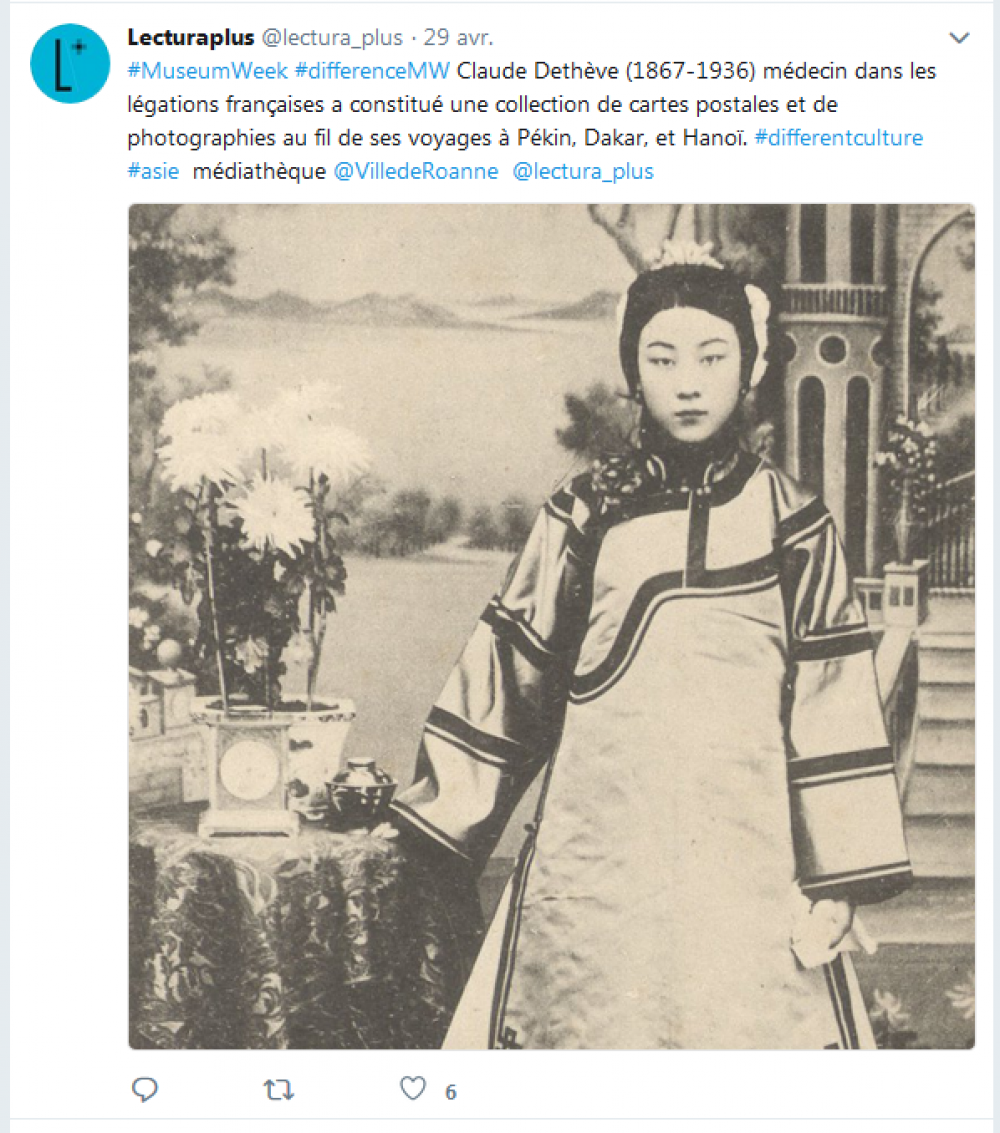 Capture d'écran, tweet de Lectura Plus, dimanche 29 avril 2018, #MuseumWeek #DifferenceMW.
